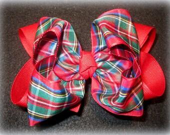 School Uniform Bow, Plaid Hairbow, BTS bows, Holiday Bows, Christmas bow, Uniform Hairbow, Plaid Hair Bows, Red Plaid Bow, 5 Inch Bows, Big