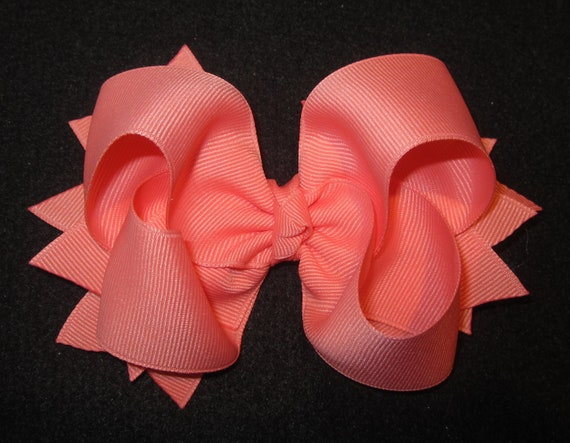 Coral Bow, Mango Bow, Boutique Hair Bows, Classic 5 inch Hairbow, Coral Hairbows, Tropical Bow, Baby Hairbows, Girl Bows, Boutique Hair Bows