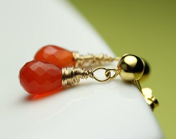 Stud Dangle Earrings / Carnelian Faceted Teardrop Briolette / wire wrapped on vermeil post with ball ear studs