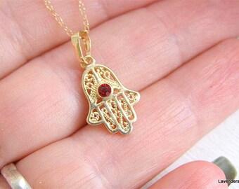 Hamsa Necklace , Gold fill , Filigree Hamsa Hand Charm , Centerd Red Crystal ,  Hamsa Jewelry , Eveil Eye , Hand Necklace