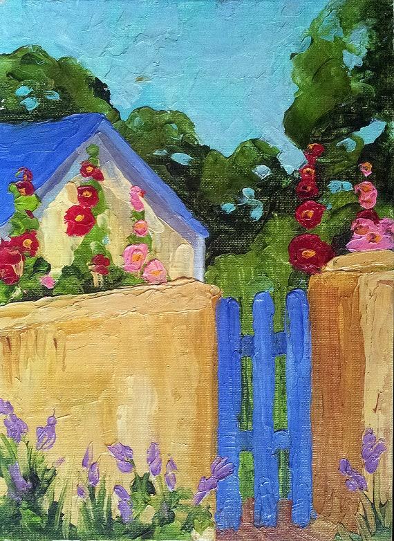Impressionist Plein Air Landscape California HOLLYHOCK COTTAGE GARDEN Lynne French o/c Art 9 x 12 Original Painting