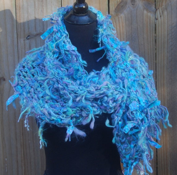 Light Blue & Lavender Handmade Crochet Big Mobius Cowl Neckwarmer