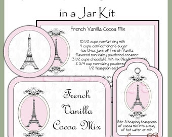 Make your own French Vanilla Cocoa Mix in a Jar - Labels, Tag and Recipe - Digital Printable Kit - Great Gift Idea - Immediate Download