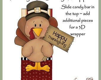 Turkey 3D Candy Bar Wrapper - Digital Printable - Immediate Download