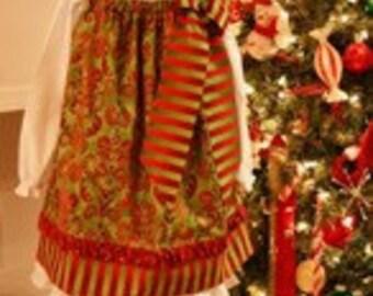 Christmas Dress Pattern - Pillow Case Dress -  PDF Sewing Pattern -  Sew Stylish W/Detachable Bow 6 Mos. - 14