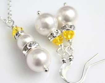 Yellow Necklace, Yellow Earrings, Swarovski White Pearl and Yellow Citrine Crystal Necklace and Earring Set, Yellow Bridesmaid Jewelry Set