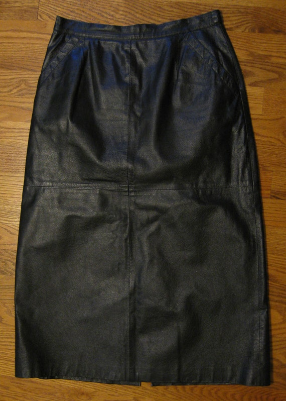 Vintage Black Leather Long A line Skirt, size small