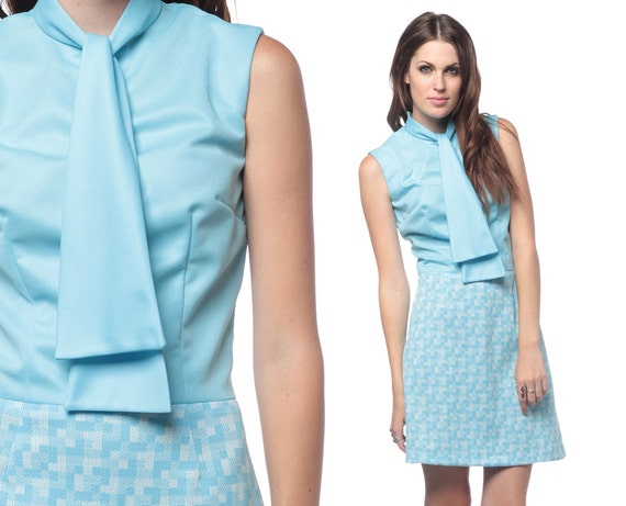 70s Mini Dress Ascot Neck Baby Blue 60s Mod Geometric Tetris Print 1960s Secretary High Waist Vintage 1970s Sleeveless Go Go Dress Small