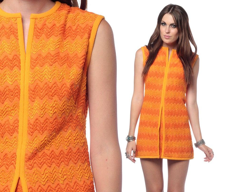 Micro mini dress 70s zigzag striped orange 60s mod by shopexile