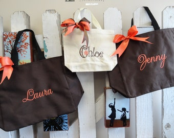 Set of 3 Personalized Bridesmaid Wedding Totes, Monogrammed Bag, Wedding Party Gift