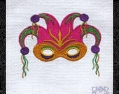 Tea Towel Embroidered with Jester Mask