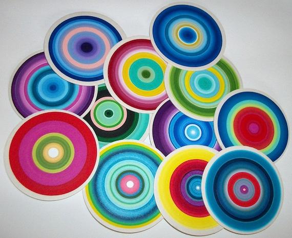 Drink Coasters Happy Colors Original Handpainted  Set of 12  Heavy durable Cardboard  4inch