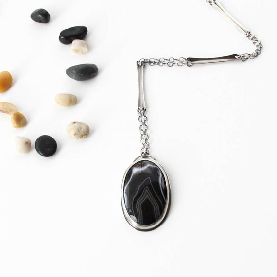 "Gorgeous Botswana agate necklace in a minimalist setting complemented by a unique handmade chain - ONE OF A KIND - ""Achromatic Necklace"""