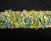 ONLY ------ 71 Inches TURQUOISE, Green, creamy and yellow fabric lace, vintage lace, Antique Lace