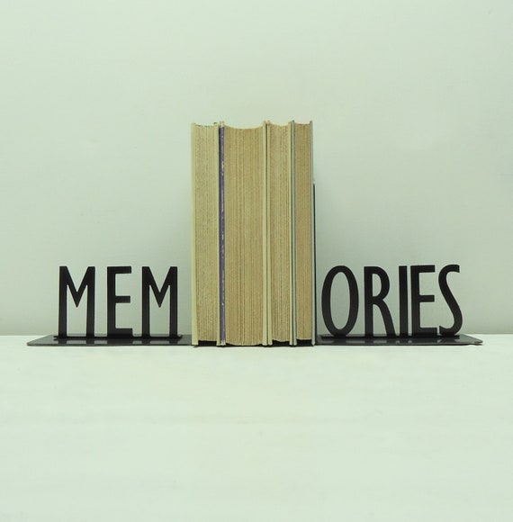 MEMORIES Text Metal Art Bookends - Free USA Shipping