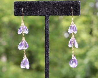 Amethyst Cascade Earrings 14k Gold Filled - Faceted Pear Briolette Dangles - Sparkling - Hand Forged Earwires