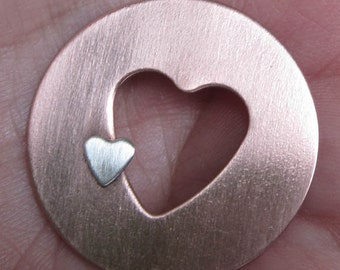Copper and Sterling Heart Pendant(one pendant)