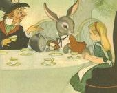 Alice in Wonderland, Vintage Illustration, A Mad Hatter Tea Party