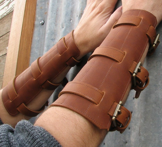 Steampunk Burnt Umber Brown Leather Gauntlets with Antiqued Brass Hardware