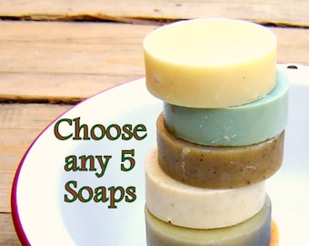 You Choose 5 / Herbal Soap Set / Cold Process Soap / Hot Process Soap
