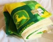 Tractor Blanket - John Deere Green and Yellow Cuddle Fleece