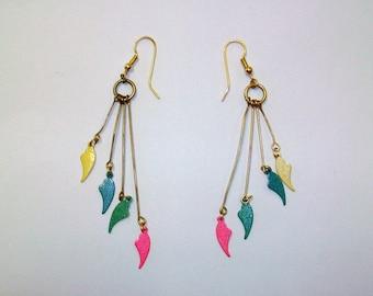 Vintage Gold-Tone Rainbow Heart Earrings DEADSTOCK