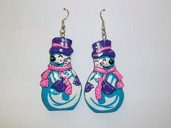 Vintage Christmas Snowman Earrings DEADSTOCK