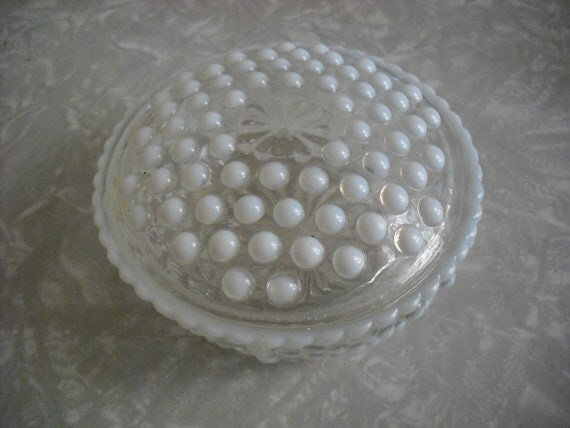 Vintage Hobnail Milk Glass Vanity Bowl Container Jar