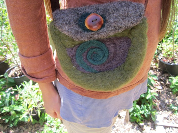 Felted Wool Purse- Woodland Purse with Handmade Wooden Button in Madrone