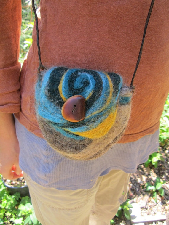 Felted Wool Purse- Aqua Spiral Woodland Purse with Handmade Wooden Button in Madrone