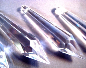 10 - 76mm Chandelier Crystal Prisms - FULL LEAD Crystal Icicle Prisms (S-9)