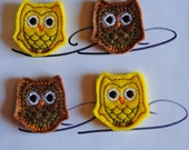 1 1/2 inch Brown and Yellow Mini Owls Felt Applique Set of 4