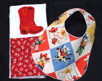 Baby Boy or girl Cowboy Boot Applique Burp Cloth and Bib Set in Michael Miller Yipee Retro and Red Horseshoes