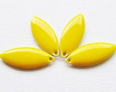 Metal & Epoxy Solid Marquise Drops - Silver Plated Yellow (4 drops) - spa374