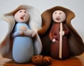 Zombie Nativity Set, Six Undead Clay Figurines, set 211