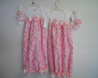 Boutique Infant Twins Pink Damask Gown Layette Set great for bring home outfit look soo pretty