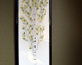 """Personalized Wedding Tree Thumbprint tree Guest Book  Aspen, size 12""""x36"""" for up to 150 guests Fall Colors"""