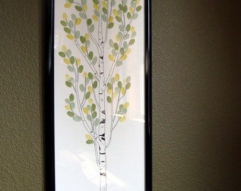 "Personalized Wedding Tree Thumbprint tree Guest Book  Aspen, size 12""x36"" for up to 150 guests Fall Colors"
