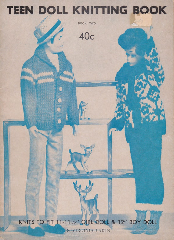 Items similar to Teen Doll Knitting Knit Pattern Book Leaflet Antique from 19...