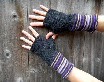 Upcycled Women Wool Arm Warmers Fingerless Gloves Wrist Warmers Black/Purple Brown Lilac Stripes