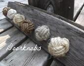 Nautical Decor - Set of 3 knotty door knobs - manila, hemp, sisal or cotton - nautical drawer pulls