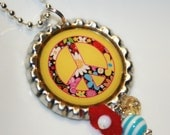 Flower Peace Sign Bottlecap Pendant Necklace