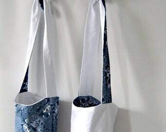 Reversible White and Blue Shweshwe Shoulder Bag - 1-5 years