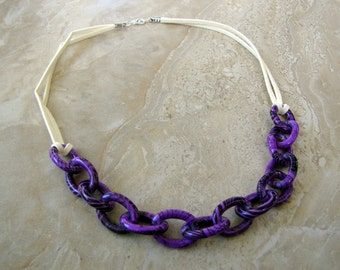 Chain Necklace - Purple Chunky Chain Links and Suede - Stellar Statement Necklace No. 4