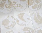 Gold Wedding Floral Ornate Stickers or Envelope Seals Set of 12, 1 1/4 inch