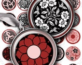Digital collage sheet ROMANTIC PINK 1.5 inch round circle images printable images for circle pendants and magnets / T173
