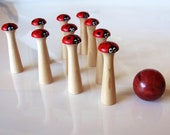 ON SALE!!  10 pin Red Wooden Lady Bug Bowling Set