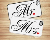iPhone Case Mr and Mrs SET  | Hard Case For iPhone 4 and iPhone 4S Great for Bachelor Party Wedding Shower  Rubber Trim