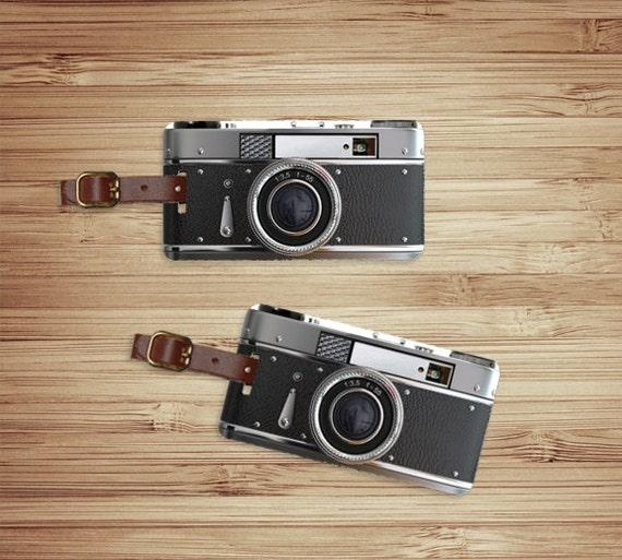 Personalized Luggage Tags Retro Black Camera Metal Tag Set Personalized Custom