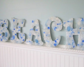 "Beach Decor Sea Glass Letters, Nautical Decor Beach Glass Letters, Wall Letters, Coastal Decor, Beach House Decor,  ""BEACH"" - 5PC  #SGBEACHL"